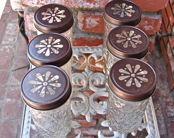 Mason Jar Tall Tumblers and Bronze  Daisy Cut Mason Jar Lids - 6 Quilted Mason Jelly Jars - 6  Lids...JJB-6