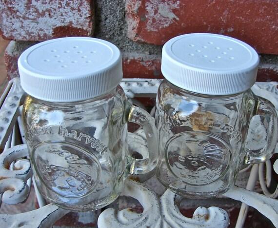 Mason Jar Mug Style DIY Salt and Pepper or Spice Shakers - 2 Pieces