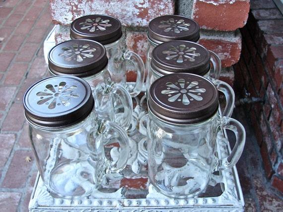 Mason Jar Mugs With Handles and Bronze Daisy Cut Mason Jar Lids - 6 Mugs - 6  Lids  MMB-6