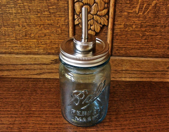 Hand Made Stainless Steel Mason Jar Drip or Pour  LId For Olive Oil or Bar Bottles