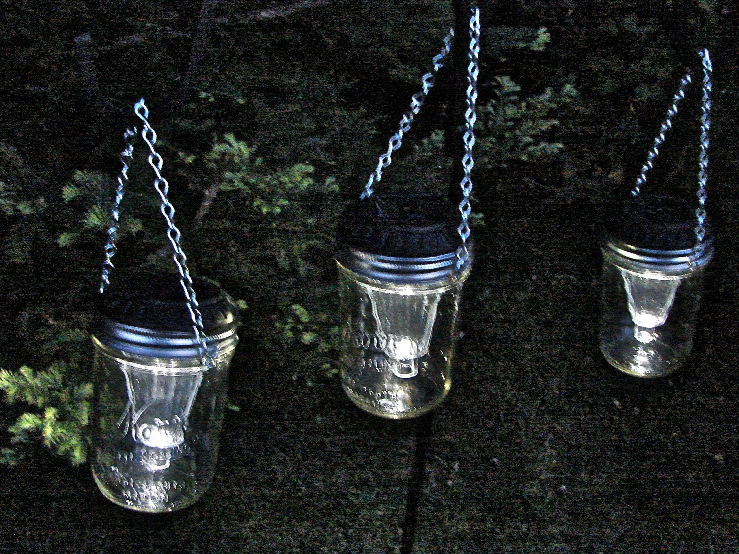 Hand made mason jar wide mouth hanging solar lights six for Hanging lights made from mason jars