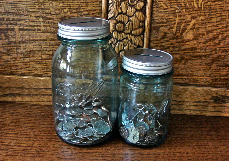 Coin slot mason jar lids 2 lids only for Mason jar piggy bank