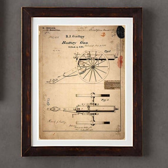 Poster Art Print Vintage Gatling Gun Blueprint By