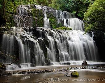 Waterfall photograph print, 4x6 print matted on white 5x7 mat.  Purakaunui Falls, South Island, New Zealand
