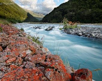 Red Rocks, Blue River photograph, 8x12 print matted on white 12x16 mat.  Arthur's Pass, South Island, New Zealand