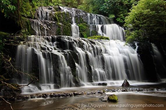 Waterfall photograph print, 8x12 print matted on white 12x16 mat.  Purakaunui Falls, South Island, New Zealand