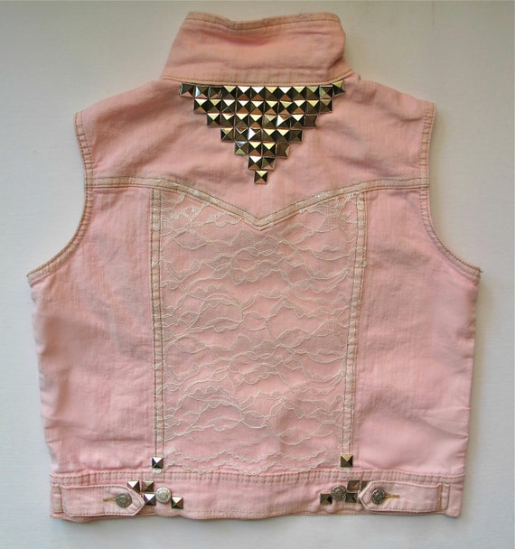 Pink Studded Lace Jean Jacket