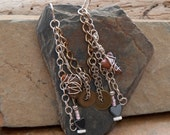 Shark's Tooth Charm Dangle Earrings with Sterling Silver and Salvaged Chain