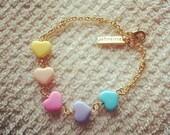 pastel heart string gold delicate bracelet