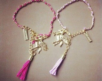 delicate pink unicorn tassel bracelet