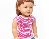 "Pink and White Zebra Shirt (For 18"" dolls like American Girl or 15"" dolls like Bitty Baby or Bitty Twins)"
