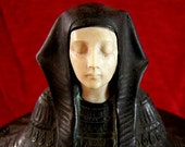 CLEOPATRA PHARAOH BUST Antique Austrian Bronze & Ivory Egyptian Revival Jewelry Casket Circa 1923 Sculpture By J. Ulrich