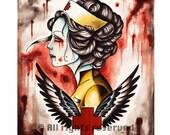Zombie Nurse Art Print