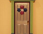 Fairy Door with Flowers - green, dark and light blue, burgundy