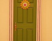Fairy Door with Flower - olive green, orange, light and dark purple, glitter