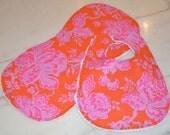 Baby Girl Bib & Burp Cloth Set...Pink Floral on Orange