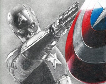 Drawing Print of Captain America (Chris Evans) from Avengers