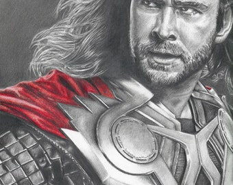 Drawing of Thor (Chris Hemsworth) from Avengers