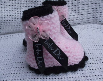 baby knitted boots with designer ribbon