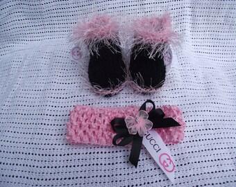 booties headband set with designer ribbon