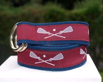 Lacrosse Belt / Lacrosse Sticks / Belt for  YOUNGER BOYS / Maroon and White