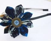 Spring Flower, African Print Button Headband