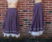 Vintage 70s Gunnes Prairie Floral Ruffle Skirt