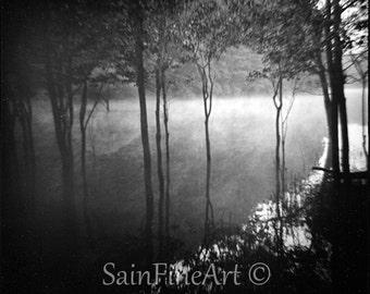 "Lake Fontana III - Black and White - Landscape - Fine Art Photography 8""X8"""