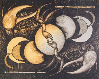 Transformative Process - original reductive woocut featuring crabs and paper moons by Carrie Lingscheit