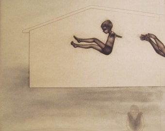 momento no. 8599 (toss) - original intaglio print by Carrie Lingscheit