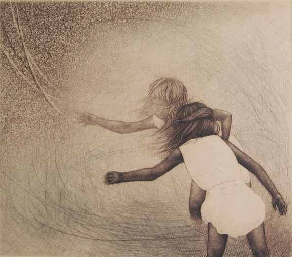 LIMITED TIME SALE! 40% off regular price - momento no. 17384 (drift) - original intaglio print by Carrie Lingscheit