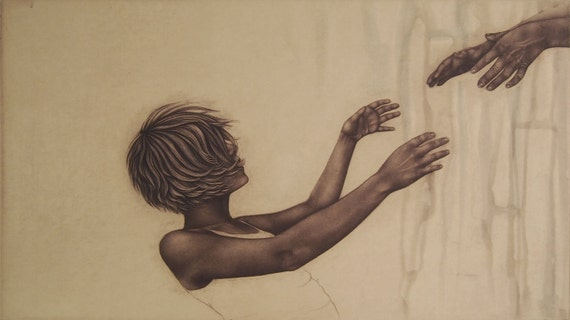 momento no. 345 (fail) - original intaglio print by Carrie Lingscheit