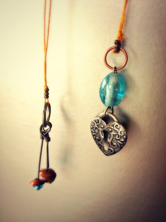 RESERVED Heart Lock and Triple Bead Charm Wax Hemp Bookmark