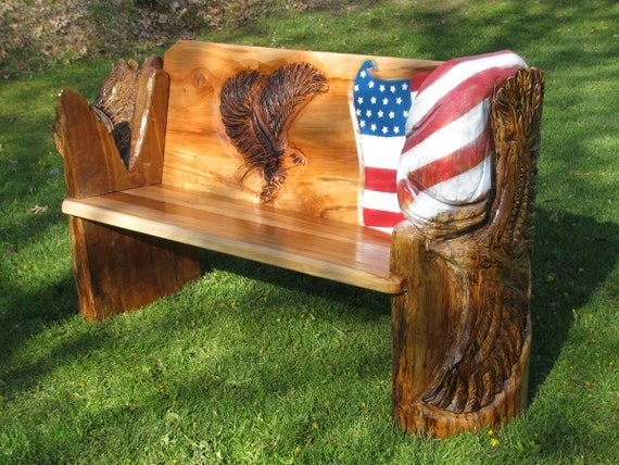 Items similar to americana hardwood chainsaw carved bench