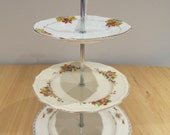 3 tier cake stand made from pretty vintage floral and bird design English plates with white gift box