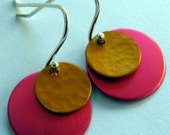 Colourful Retro Earrings Hot Pink and Yellow Round Jewellery Sterling Silver Earwires Textured Metal Handmade By Lorraine