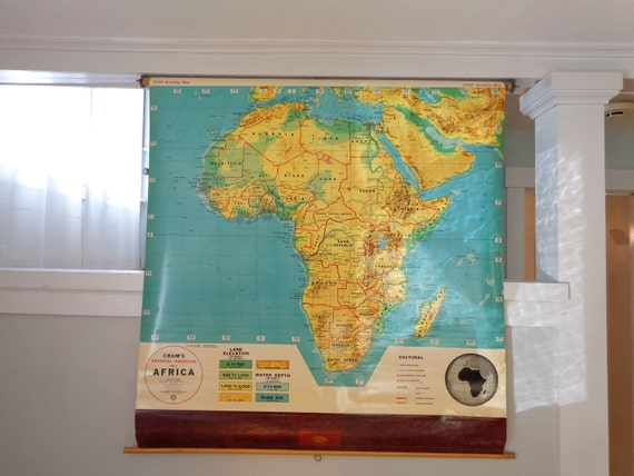 Vintage School Pull Down Map Cram's Africa Physical Political