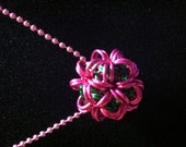"""FREE SHIPPING - Chainmaille dodecahedron (ball) on 18"""" bead chain"""