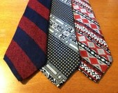 3 1970's Vintage Red, Blue, White  Pattern Wide Neck Ties