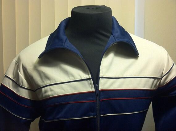 1970's Oshmans Sports Wear Blue and White Medium Mens Track Jacket