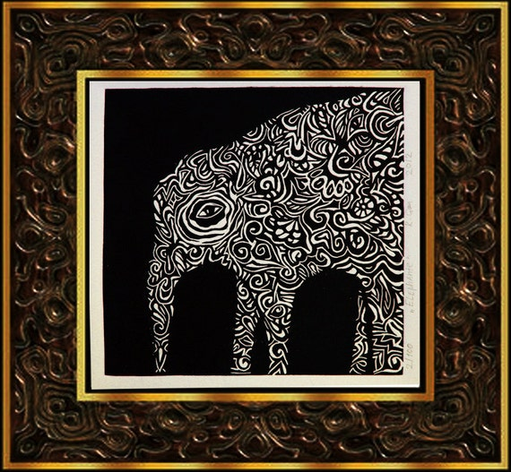 ELEPHANTE - original linocut print, limited edition.