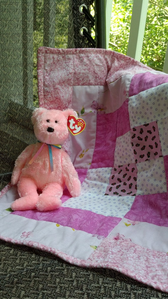 Handcrafted Doll Quilt-shades of pink with FREE TY BEAR