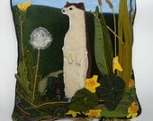 Ermine sitting in the grass- Handmade decorative pillow