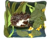 Hedgehog by a pond- Handmade decorative pillow