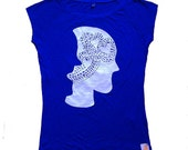 Eco T-shirt for Women / Silky Soft Blue Bamboo Tshirt / Wearable Art / Silkscreen Illustration / graphic / Fair Trade