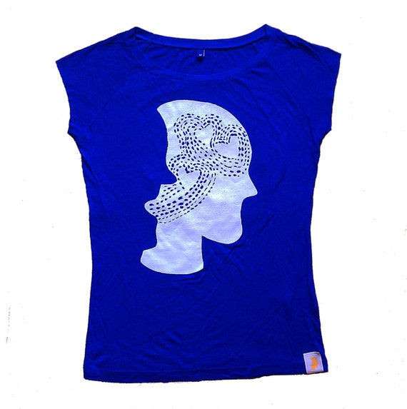 Eco friendly tshirt for her, women, ladies, blue, bamboo, silkscreen, fair trade clothing, organic clothing