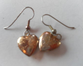 Valentine gift of love locket hearts engraved opening pendant gold plated earrings sent in a pretty gift box