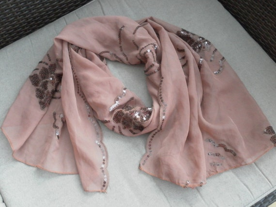 lovely large sequined soft pink boho sari silk wrap or scarf