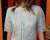 Vintage Light Blue 1960s Lace Sleep Shirt - Vanity Fair - M/S