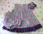 Infant sundress in purple flowered print, set includes matching panties, ruffled shoes, headband w/bow , Size 6-9 months